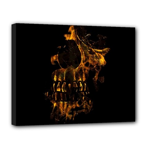 Skull Burning Digital Collage Illustration Canvas 14  X 11  (framed)