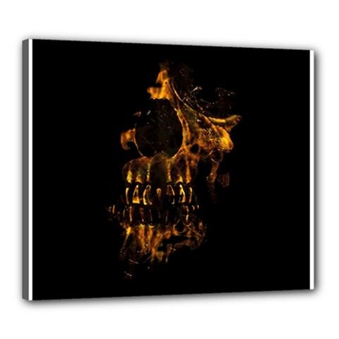 Skull Burning Digital Collage Illustration Canvas 24  x 20  (Framed)