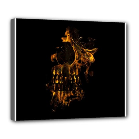 Skull Burning Digital Collage Illustration Deluxe Canvas 24  X 20  (framed)