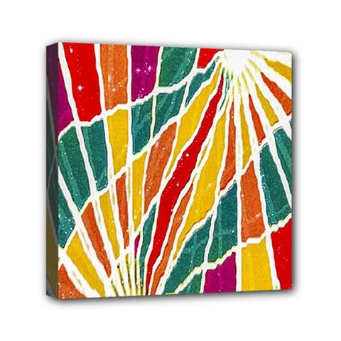 Multicolored Vibrations Mini Canvas 6  X 6  (framed)