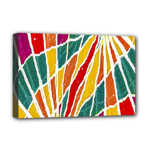 Multicolored Vibrations Deluxe Canvas 18  X 12  (framed)