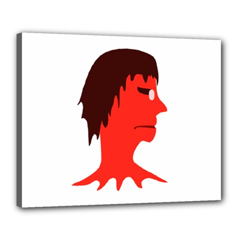 Monster With Men Head Illustration Canvas 20  X 16  (framed)