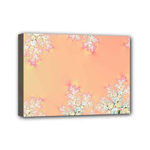 Peach Spring Frost On Flowers Fractal Mini Canvas 7  X 5  (framed)