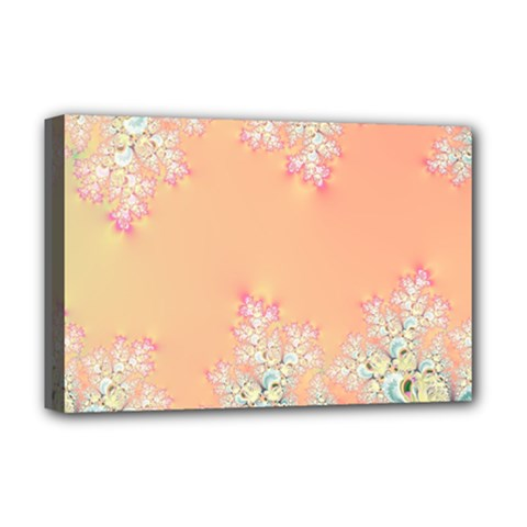 Peach Spring Frost On Flowers Fractal Deluxe Canvas 18  x 12  (Framed)