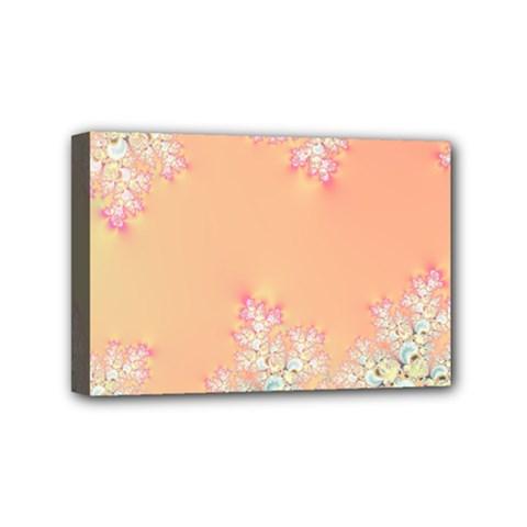 Peach Spring Frost On Flowers Fractal Mini Canvas 6  x 4  (Framed)