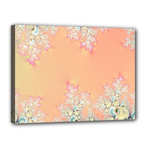 Peach Spring Frost On Flowers Fractal Canvas 16  x 12  (Framed)