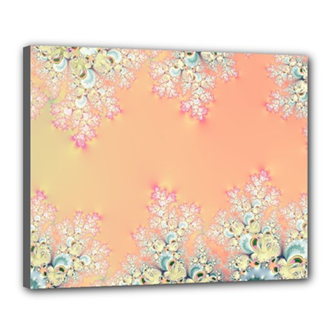 Peach Spring Frost On Flowers Fractal Canvas 20  X 16  (framed)