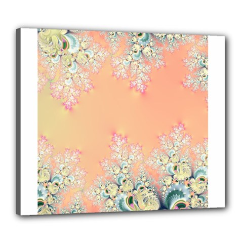 Peach Spring Frost On Flowers Fractal Canvas 24  x 20  (Framed)