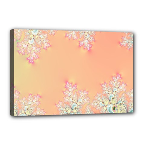 Peach Spring Frost On Flowers Fractal Canvas 18  x 12  (Framed)