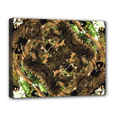 Artificial Tribal Jungle Print Canvas 14  X 11  (framed)