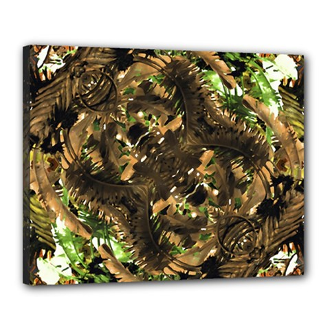 Artificial Tribal Jungle Print Canvas 20  x 16  (Framed)