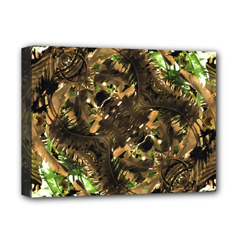 Artificial Tribal Jungle Print Deluxe Canvas 16  X 12  (framed)