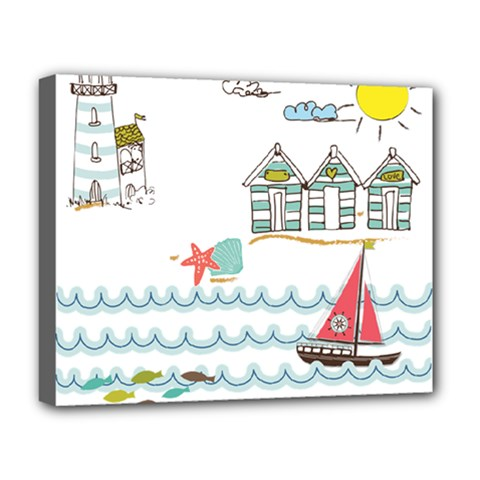 Summer Holiday Deluxe Canvas 20  X 16  (framed)