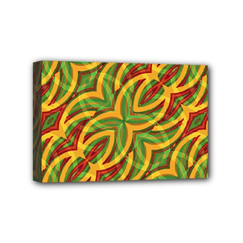 Tropical Colors Abstract Geometric Print Mini Canvas 6  X 4  (framed)