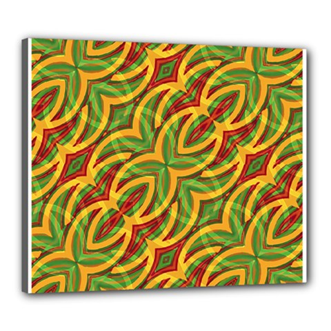 Tropical Colors Abstract Geometric Print Canvas 24  X 20  (framed)
