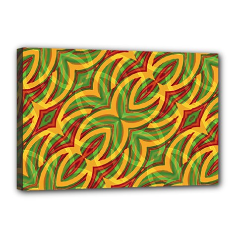 Tropical Colors Abstract Geometric Print Canvas 18  x 12  (Framed)
