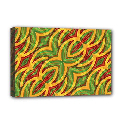 Tropical Colors Abstract Geometric Print Deluxe Canvas 18  X 12  (framed)