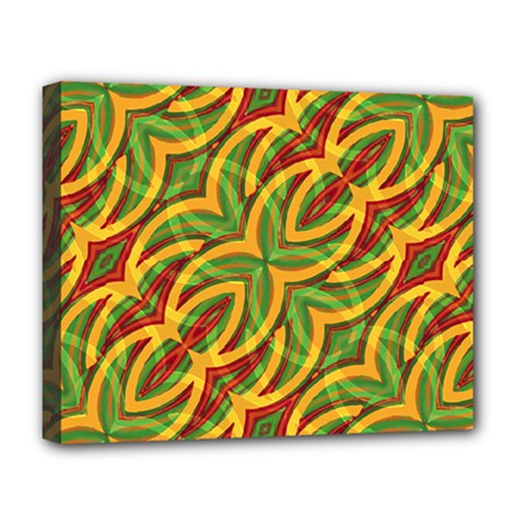 Tropical Colors Abstract Geometric Print Deluxe Canvas 20  x 16  (Framed)