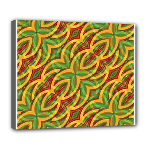 Tropical Colors Abstract Geometric Print Deluxe Canvas 24  x 20  (Framed)
