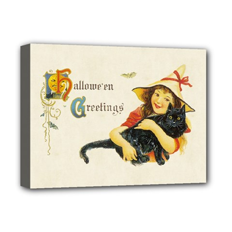 Hallowe en Greetings Deluxe Canvas 16  x 12  (Framed)