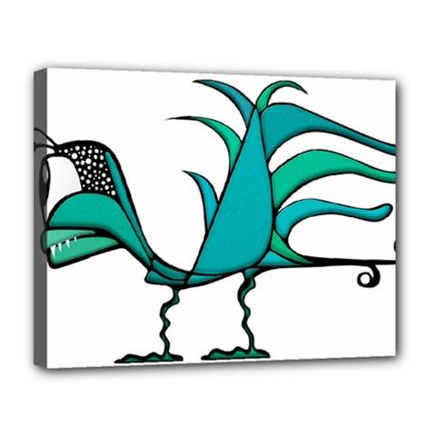 Fantasy Bird Canvas 14  x 11  (Framed)