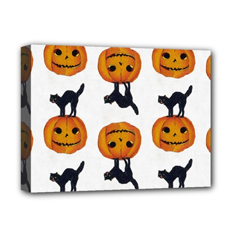 Vintage Halloween Cat Deluxe Canvas 16  x 12  (Framed)