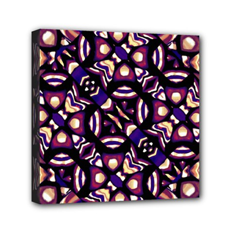 Colorful Tribal Pattern Print Mini Canvas 6  x 6  (Framed)