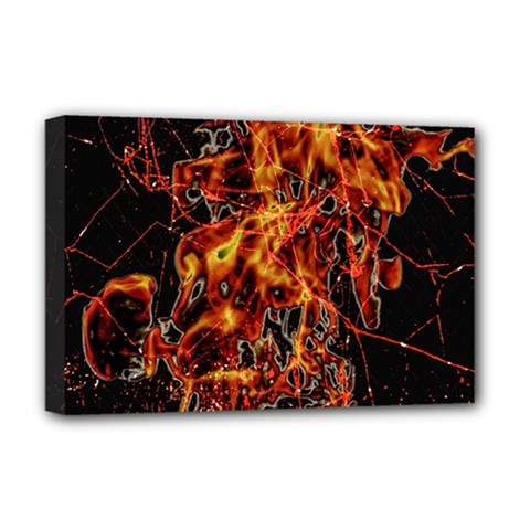 On Fire Deluxe Canvas 18  X 12  (framed)
