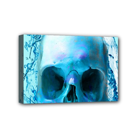 Skull In Water Mini Canvas 6  X 4  (framed)