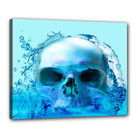 Skull In Water Canvas 20  X 16  (framed)