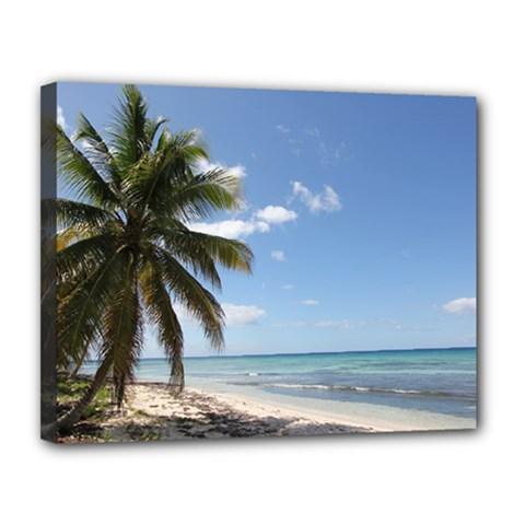 Isla Saona Caribbean Paradise Beach Canvas 14  X 11  (framed)