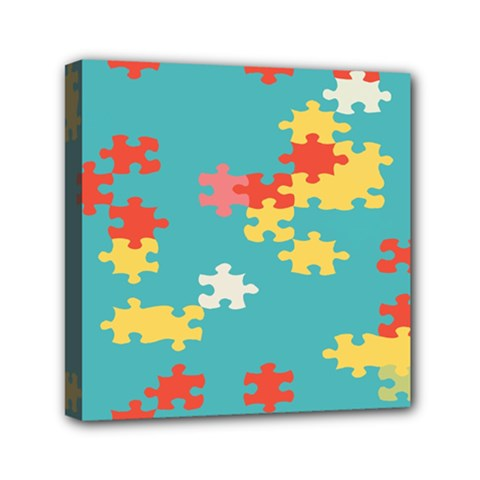 Puzzle Pieces Mini Canvas 6  x 6  (Framed)