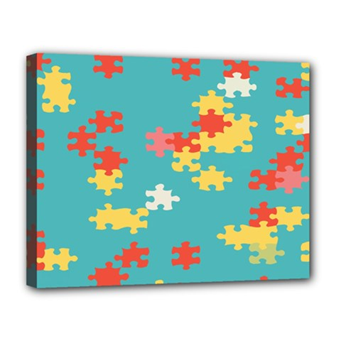 Puzzle Pieces Canvas 14  X 11  (framed)