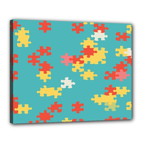 Puzzle Pieces Canvas 20  x 16  (Framed)