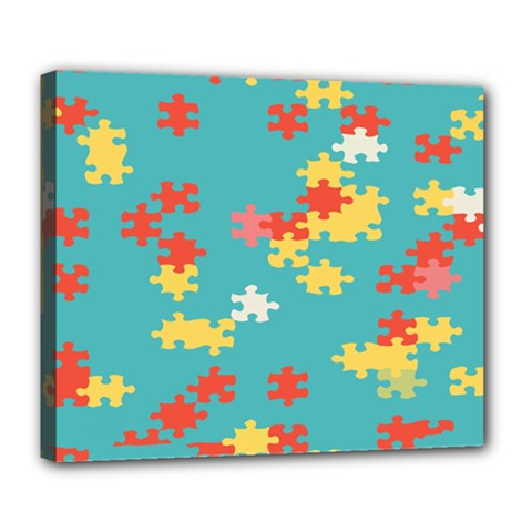 Puzzle Pieces Deluxe Canvas 24  x 20  (Framed)