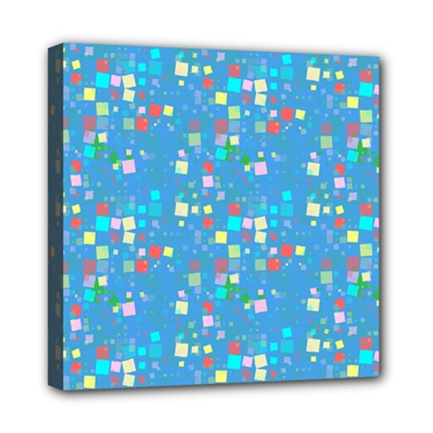 Colorful Squares Pattern Mini Canvas 8  X 8  (stretched)