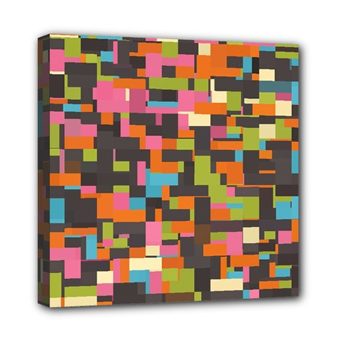 Colorful pixels Mini Canvas 8  x 8  (Stretched)