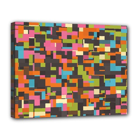 Colorful Pixels Canvas 14  X 11  (stretched)