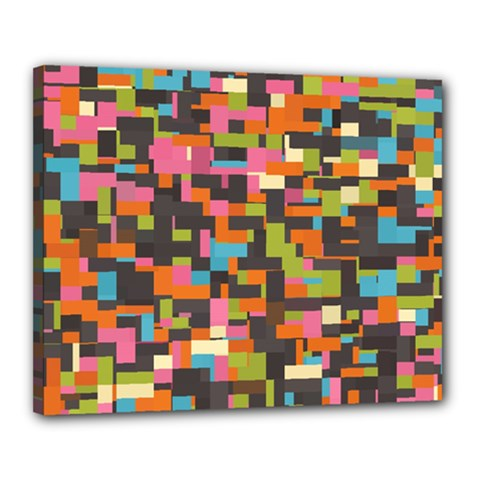 Colorful Pixels Canvas 20  X 16  (stretched)