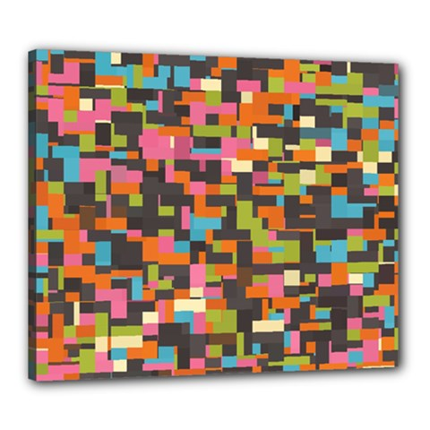 Colorful pixels Canvas 24  x 20  (Stretched)