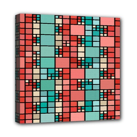 Red and green squares Mini Canvas 8  x 8  (Stretched)