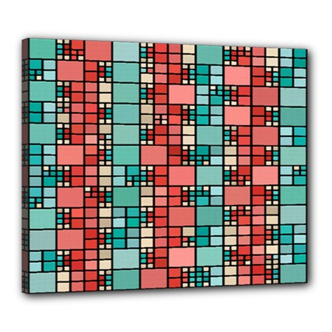 Red and green squares Canvas 24  x 20  (Stretched)