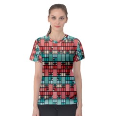 Red and green squares Women s Full All Over Print Sport T-shirt