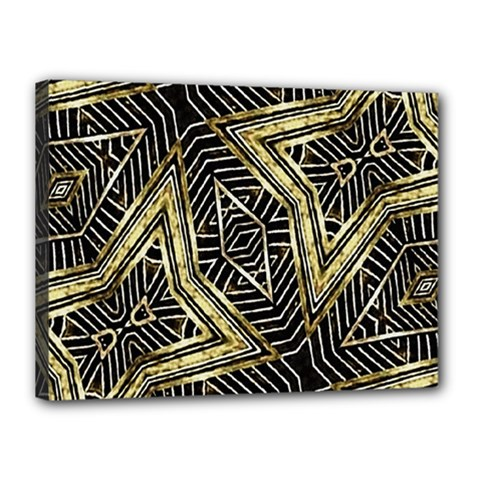 Geometric Tribal Golden Pattern Print Canvas 16  x 12  (Framed)