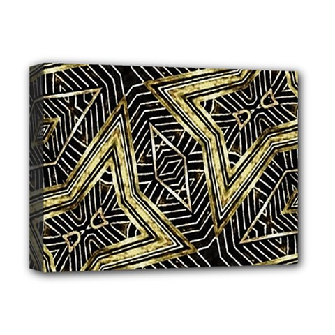 Geometric Tribal Golden Pattern Print Deluxe Canvas 16  x 12  (Framed)