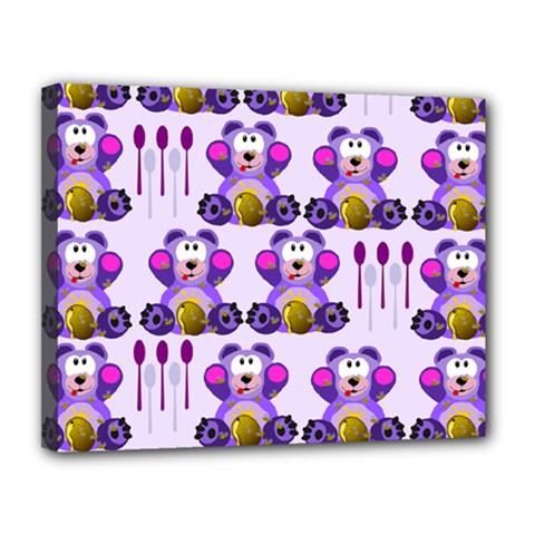 Fms Honey Bear With Spoons Canvas 14  X 11  (framed)