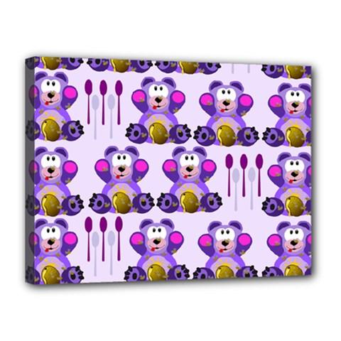 Fms Honey Bear With Spoons Canvas 16  x 12  (Framed)