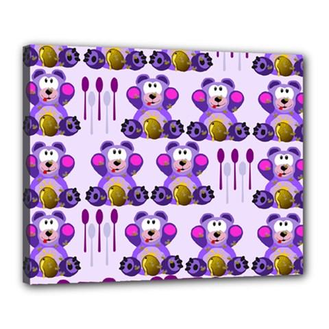 Fms Honey Bear With Spoons Canvas 20  x 16  (Framed)