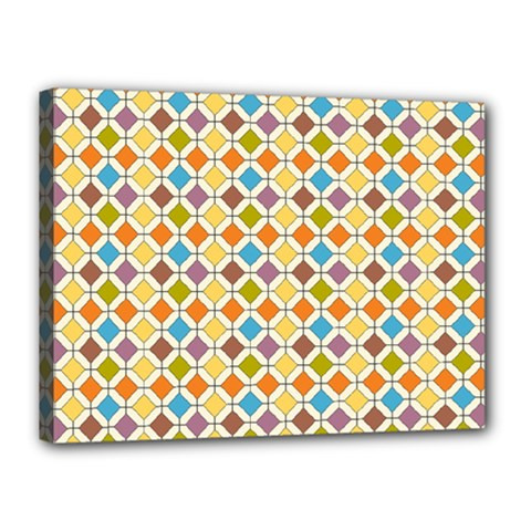 Colorful Rhombus Pattern Canvas 16  X 12  (stretched)