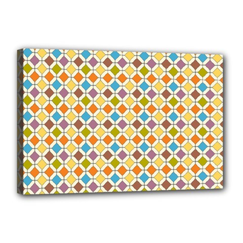 Colorful Rhombus Pattern Canvas 18  X 12  (stretched)
